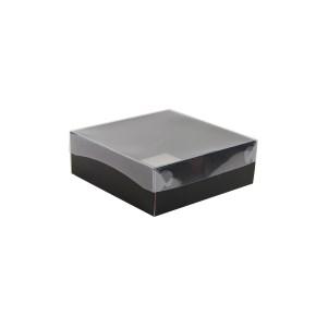 Dárková krabička s průhledným víkem 200x200x70/35 mm, černo šedá matná