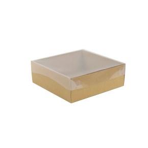 Dárková krabička s průhledným víkem 200x200x70/35 mm, hnědá - kraftová