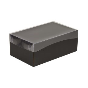 Dárková krabička s průhledným víkem 250x150x100/40 mm, černá