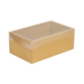 Dárková krabička s průhledným víkem 250x150x100/40 mm, hnědá - kraftová
