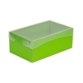 Dárková krabička s průhledným víkem 250x150x100/40 mm, zelená