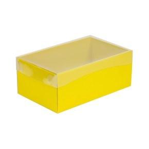 Dárková krabička s průhledným víkem 250x150x100/40 mm, žlutá