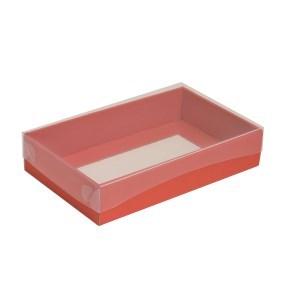 Dárková krabička s průhledným víkem 250x150x50/35 mm, korálová