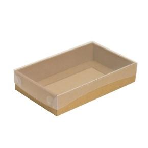 Dárková krabička s průhledným víkem 250x150x50/35 mm, kraftová - hnědá