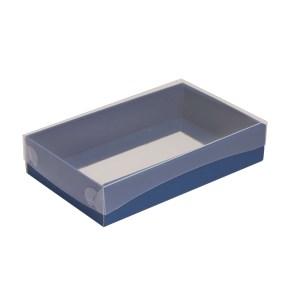 Dárková krabička s průhledným víkem 250x150x50/35 mm, modrá