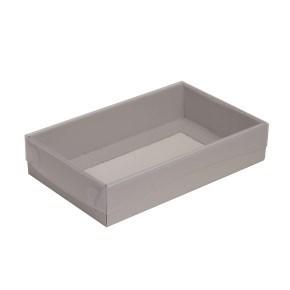 Dárková krabička s průhledným víkem 250x150x50/35 mm, šedá