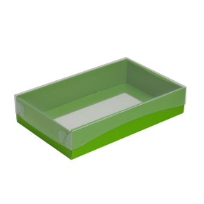 Dárková krabička s průhledným víkem 250x150x50/35 mm, zelená