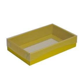 Dárková krabička s průhledným víkem 250x150x50/35 mm, žlutá