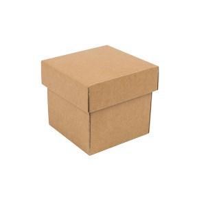 Dárková krabička s víkem 100x100x100/35 mm, hnědá kraftová
