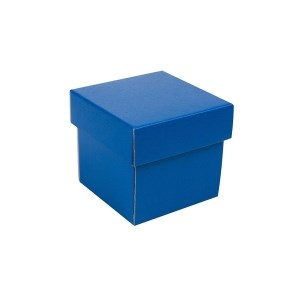 Dárková krabička s víkem 100x100x100/35 mm, modrá matná