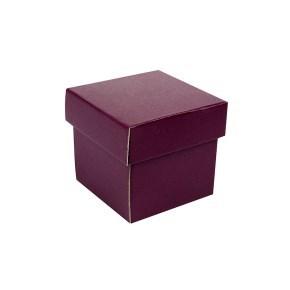 Dárková krabička s víkem 100x100x100/35 mm, vínová matná
