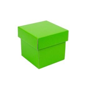 Dárková krabička s víkem 100x100x100/35 mm, zelená matná