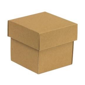 Dárková krabička s víkem 100x100x100/40 mm, hnědá - kraftová