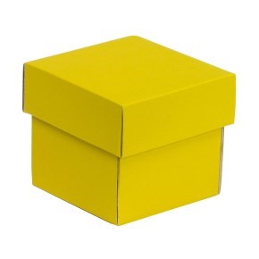 Dárková krabička s víkem 100x100x100/40 mm, žlutá