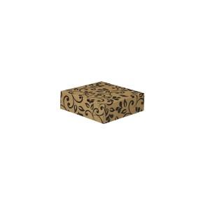Dárková krabička s víkem 100x100x35 mm, hnědá, černý potisk lístky