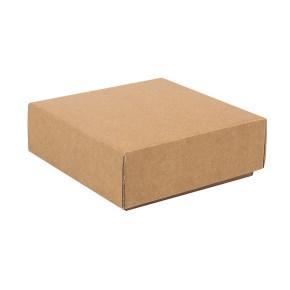 Dárková krabička s víkem 100x100x35 mm, hnědá kraftová