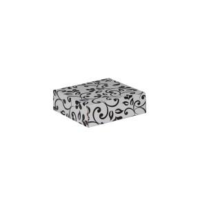 Dárková krabička s víkem 100x100x35 mm, šedá, černý potisk lístky