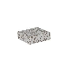Dárková krabička s víkem 100x100x35 mm, šedá, hnědý potisk lístky