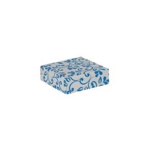 Dárková krabička s víkem 100x100x35 mm, šedá, modrý potisk lístky