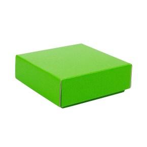 Dárková krabička s víkem 100x100x35 mm, zelená matná