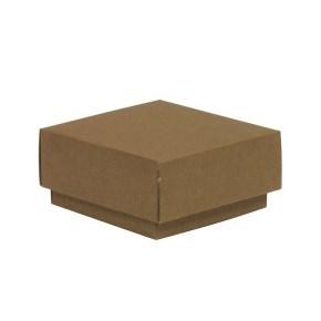 Dárková krabička s víkem 100x100x50/40 mm, hnědá - kraftová