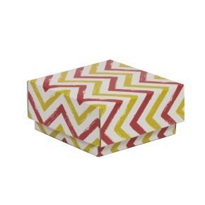 Dárková krabička s víkem 100x100x50/40 mm, VZOR - CIK CAK korálová/žlutá