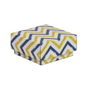 Dárková krabička s víkem 100x100x50/40 mm, VZOR - CIK CAK modrá/žlutá