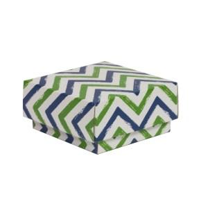 Dárková krabička s víkem 100x100x50/40 mm, VZOR - CIK CAK zelená/modrá