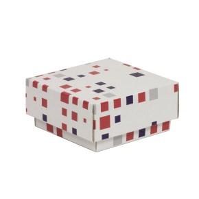 Dárková krabička s víkem 100x100x50/40 mm, VZOR - KOSTKY fialová/korálová
