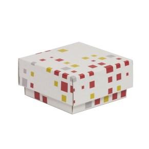 Dárková krabička s víkem 100x100x50/40 mm, VZOR - KOSTKY korálová/žlutá