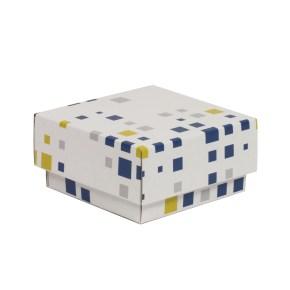 Dárková krabička s víkem 100x100x50/40 mm, VZOR - KOSTKY modrá/žlutá