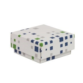 Dárková krabička s víkem 100x100x50/40 mm, VZOR - KOSTKY zelená/modrá