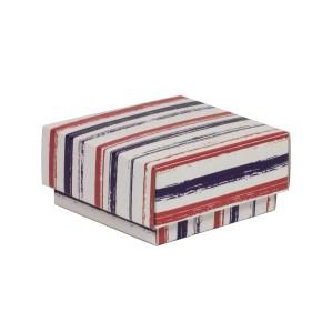 Dárková krabička s víkem 100x100x50/40 mm, VZOR - PRUHY fialová/korálová
