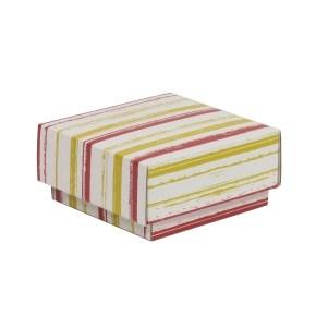 Dárková krabička s víkem 100x100x50/40 mm, VZOR - PRUHY korálová/žlutá