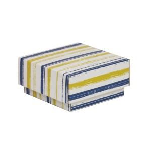 Dárková krabička s víkem 100x100x50/40 mm, VZOR - PRUHY modrá/žlutá