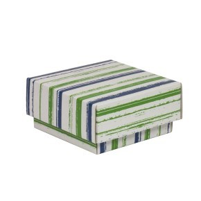 Dárková krabička s víkem 100x100x50/40 mm, VZOR - PRUHY zelená/modrá