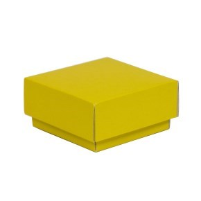 Dárková krabička s víkem 100x100x50/40 mm, žlutá