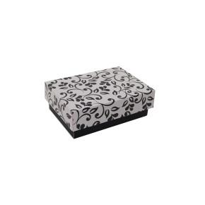 Dárková krabička s víkem 150x100x50/35 mm, černo šedá se vzorem lístky, černý potisk