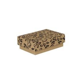 Dárková krabička s víkem 150x100x50/35 mm, hnědá se vzorem lístky, černý potisk