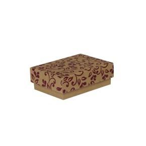 Dárková krabička s víkem 150x100x50/35 mm, hnědá se vzorem lístky, fialový potisk