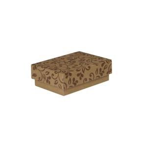 Dárková krabička s víkem 150x100x50/35 mm, hnědá se vzorem lístky, hnědý potisk