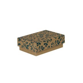 Dárková krabička s víkem 150x100x50/35 mm, hnědá se vzorem lístky, modrý potisk