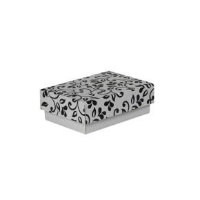Dárková krabička s víkem 150x100x50/35 mm, šedá se vzorem lístky, černý potisk