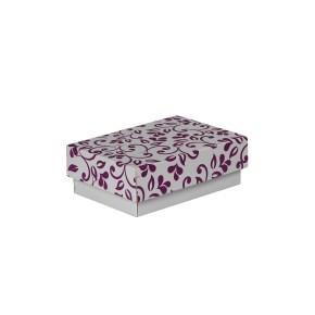 Dárková krabička s víkem 150x100x50/35 mm, šedá se vzorem lístky, fialový potisk