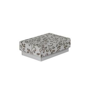 Dárková krabička s víkem 150x100x50/35 mm, šedá se vzorem lístky, hnědý potisk