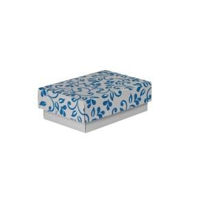 Dárková krabička s víkem 150x100x50/35 mm, šedá se vzorem lístky, modrý potisk