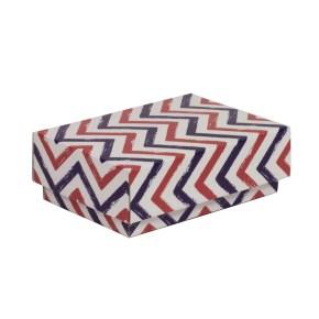 Dárková krabička s víkem 150x100x50/40 mm, VZOR - CIK CAK fialová/korálová