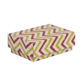 Dárková krabička s víkem 150x100x50/40 mm, VZOR - CIK CAK korálová/žlutá