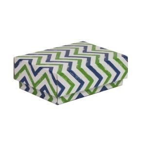 Dárková krabička s víkem 150x100x50/40 mm, VZOR - CIK CAK zelená/modrá