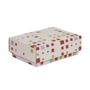 Dárková krabička s víkem 150x100x50/40 mm, VZOR - KOSTKY korálová/žlutá